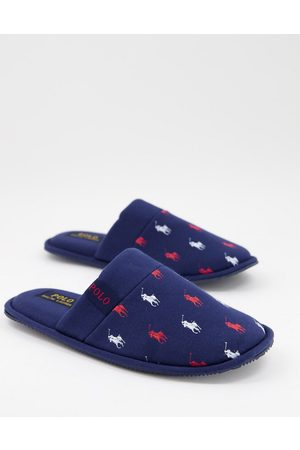 Polo Ralph Lauren Mules - Summit scuff logo mule slippers in navy red