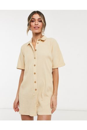 ASOS Button through chuck on shirt playsuit in stone-Neutral