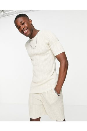 ASOS Outfit Sets - Muscle fit cable knit co-ord T-shirt in oatmeal-Neutral