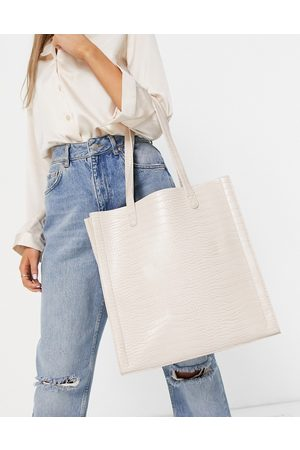ASOS Tote Bags - Cream croc shopper with laptop compartment-White