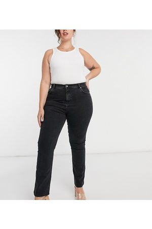 ASOS ASOS DESIGN Curve high-rise 70s stretch flare jeans in washed black