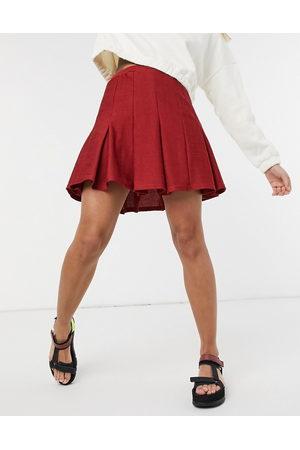 ASOS Women Mini Skirts - Mini pleated boucle tennis skirt in burgundy-Red