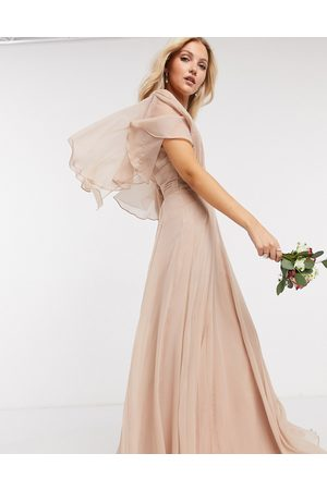 ASOS Women Party Dresses - Bridesmaid ruched bodice drape maxi dress with wrap waist and flutter cape sleeve in blush-Pink