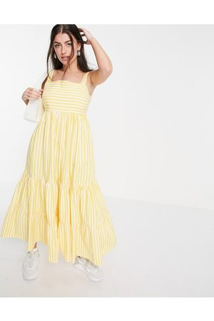 People Tree Women Summer Dresses - Maxi dress with tiered skirt in summer stripe organic cotton