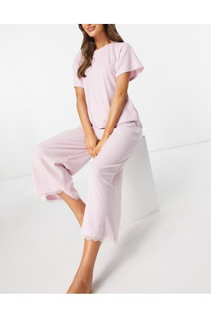 ASOS Women Culottes - Mix & match jersey rib & lace pyjama culotte pants in pink