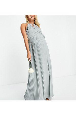 TFNC Women Maxi Dresses - Bridesmaid pleated wrap detail maxi dress in sage-Green