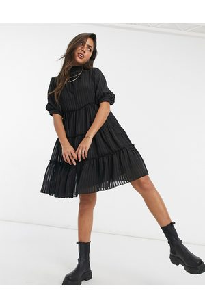 Y.A.S Mini smock dress with pleating and flutter sleeve in black