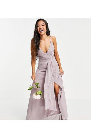 TFNC Women Maxi Dresses - Bridesmaid cami wrap maxi dress with fishtail in light grey