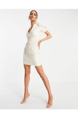 Ax Paris Mini Dresses - Gathered side faux leather mini dress in cream-Multi