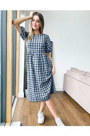 Nobody's Child Women Midi Dresses - Midi smock dress with volume sleeves in blue gingham
