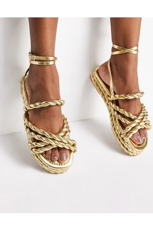 ASOS Sandals - Franky rope flat sandals in gold