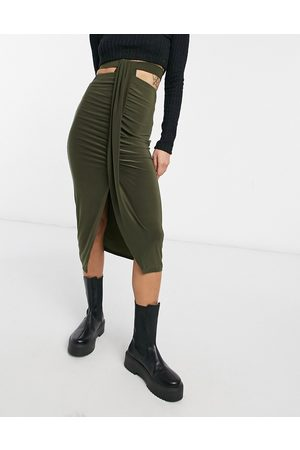 ASOS Women Midi Skirts - Ruched midi skirt with cut-out waist detail in khaki-Green