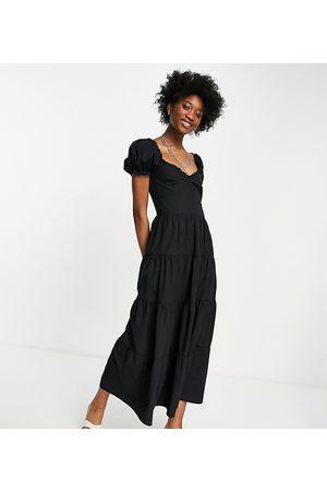 Stradivarius Milkmaid poplin dress with puffed sleeves in black