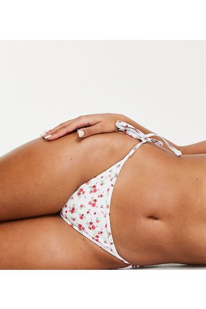 Peek & Beau Fuller Bust Exclusive recycled polyester tie side bikini bottoms in ditsy red floral print-Multi