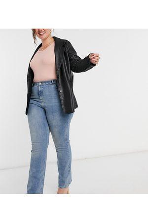 ASOS Women Boyfriend - ASOS DESIGN Curve high rise '70s' stretch flare jeans in vintage midwash-Blue