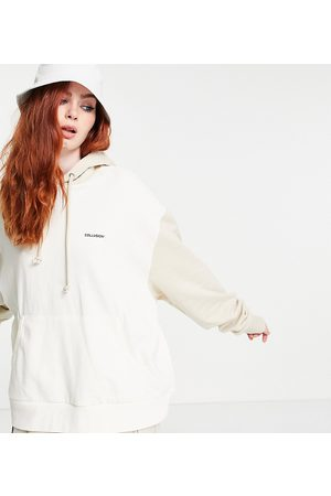 COLLUSION Hoodies - Unisex oversized hoodie with contrast sleeves in tonal ecru-White