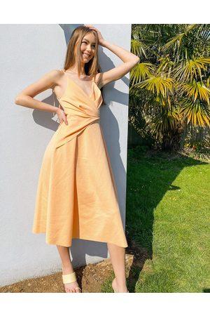 ASOS DESIGN Women Midi Dresses - Spaghetti strap wrap tuck midi skater dress in apricot pink-Multi