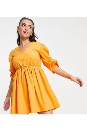 Accessorize Exclusive puff-sleeved dress in orange