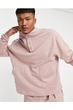 ASOS DESIGN Outfit Sets - Co-ord oversized sweatshirt with neck detail in pink