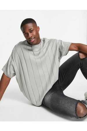 ASOS Short Sleeve - Knitted wide rib oversized T-shirt in grey