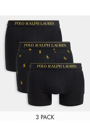 Polo Ralph Lauren X ASOS exclusive collab 3-pack trunks in black/gold with all-over pony logo