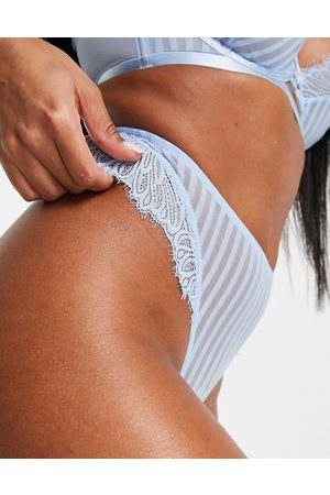 Wolf & Whistle Stripe mesh high leg lace lingerie thong in blue