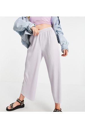 ASOS Petite Women Culottes - ASOS DESIGN Petite plisse culotte pants in lavender blue