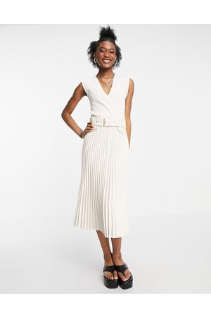 Morgan Belted midi skater dress with leather look pleated skirt in ivory-White