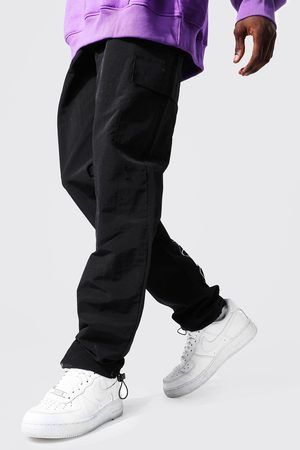 Boohoo Mens Ofcl Shell Cargo Trouser With Bungee Cord