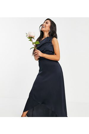 TFNC Bridesmaid one shoulder maxi dress in navy-Pink