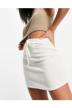 ASOS Towelling mini skirt with tie detail in white