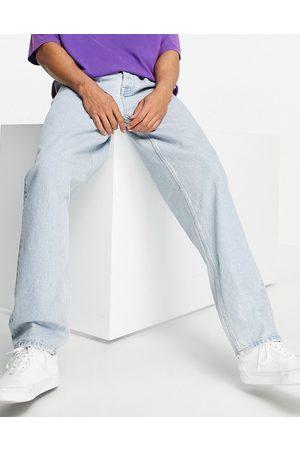ASOS Women Boyfriend - Baggy jeans with double pleat and elastic waist detail-Blue