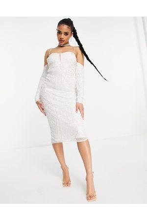 ASOS Cold shoulder sequin midi pencil dress in white