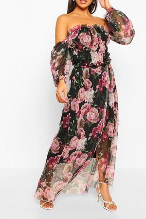 Boohoo Floral Mesh Rouched Maxi Dress