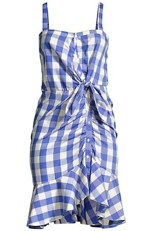 LIKELY Women Asymmetrical Dresses - Mini Minka Gingham Asymmetric Button-Front Dress