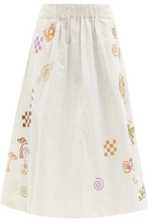 Story Women Maxi Skirts - Todash Spiral Trip-print Cotton-blend Midi Skirt - Womens - Ivory