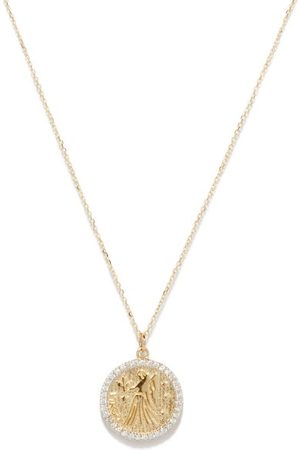 Mateo Women Necklaces - Virgo Large Diamond & 14kt Zodiac Necklace - Womens