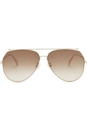 Alexander McQueen Aviator Round Metal Sunglasses - Womens - Multi