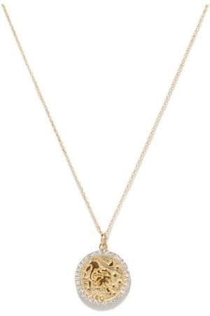 Mateo Leo Large Diamond & 14kt Zodiac Necklace - Womens