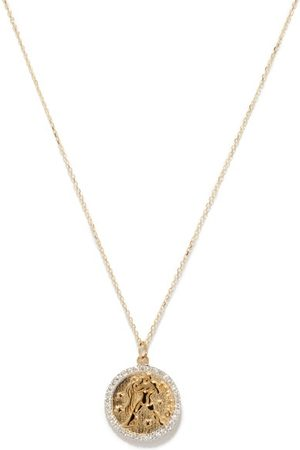 Mateo Aquarius Large Diamond & 14kt Zodiac Necklace - Womens