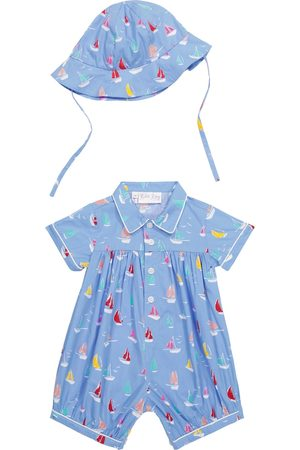 Rachel Riley Baby printed cotton romper and hat set