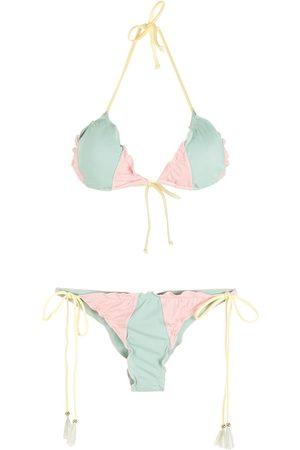 Brigitte Colour-block triangle bikini set