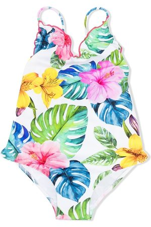 MC2 SAINT BARTH Botanical-print V-neck one-piece