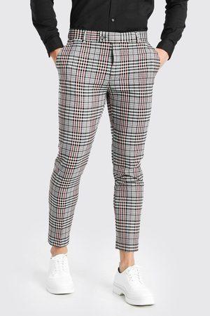 Boohoo Men Skinny Pants - Mens Skinny Check Smart Cropped trousers