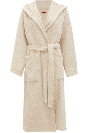 Missoni Women Bathrobes - Rex Zigzag-jacquard Cotton-terry Bathrobe - Womens - Cream