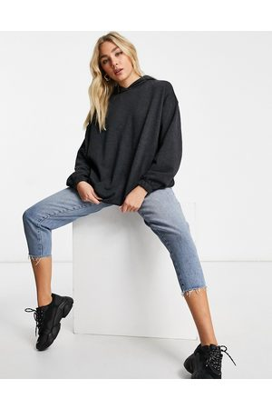 ASOS Hoodies - Super oversized cocoon hoodie with side pockets in charcoal marl-Grey
