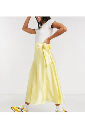 Reclaimed Vintage Inspired satin midi skirt with self tie in yellow