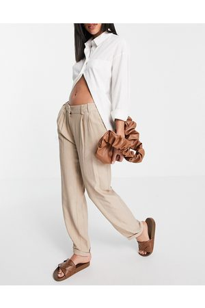 VILA Tapered leg pants in beige-Neutral