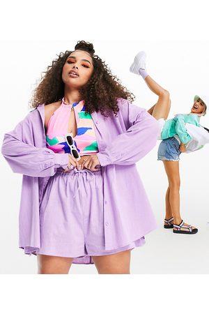 ASOS ASOS DESIGN curve textured button-through beach shirt in lilac-Purple