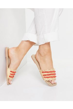ASOS Jump Start raffia espadrille mules with red shell detail-Neutral